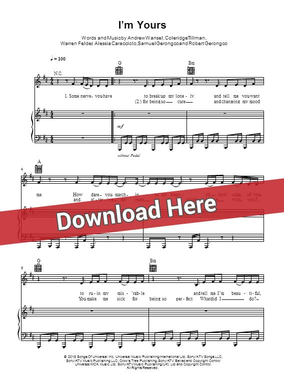 alessia cara, i'm yours, sheet music, chords, piano notes, score, download, keyboard, guitar, tabs, bass, how to play, learn