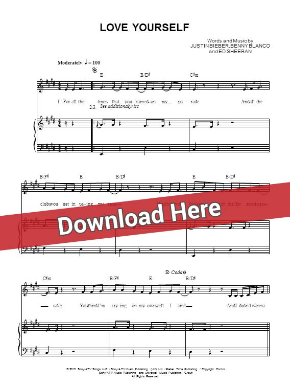 justin bieber, love yourself ,sheet music, chords, piano notes, score, download, keyboard, guitar, tabs, bass, klavier noten, partition, how to play, learn